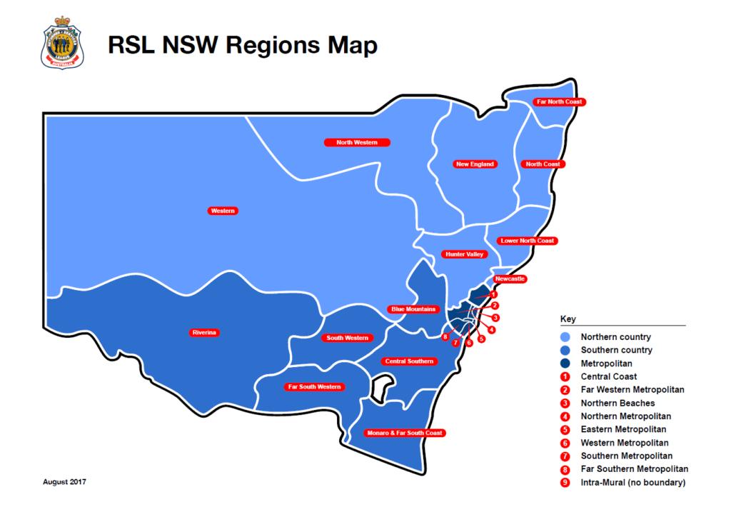 RSL NSW Regions Map